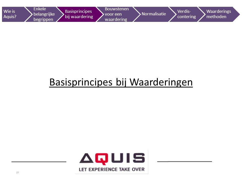 15 Basisprincipes bij Waarderingen Wie is Aquis? Enkele belangrijke begrippen Basisprincipes bij waardering Bouwstenen voor een waardering Normalisati