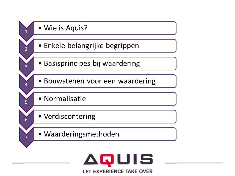 1 Wie is Aquis? 2 Enkele belangrijke begrippen 3 Basisprincipes bij waardering 4 Bouwstenen voor een waardering 5 Normalisatie 6 Verdiscontering 7 Waa