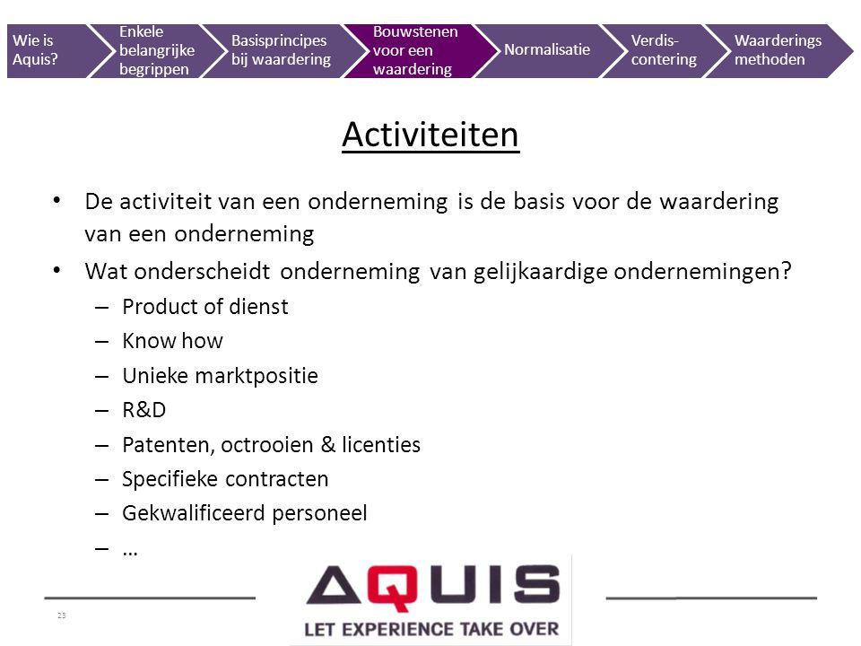 23 De activiteit van een onderneming is de basis voor de waardering van een onderneming Wat onderscheidt onderneming van gelijkaardige ondernemingen?