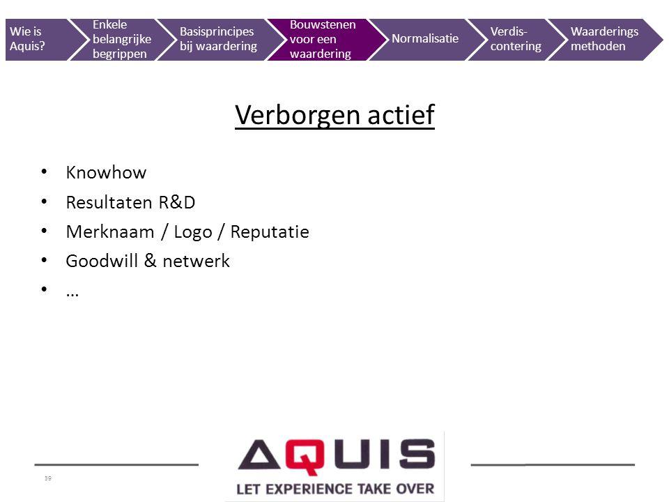 39 Knowhow Resultaten R&D Merknaam / Logo / Reputatie Goodwill & netwerk … Verborgen actief Wie is Aquis? Enkele belangrijke begrippen Basisprincipes