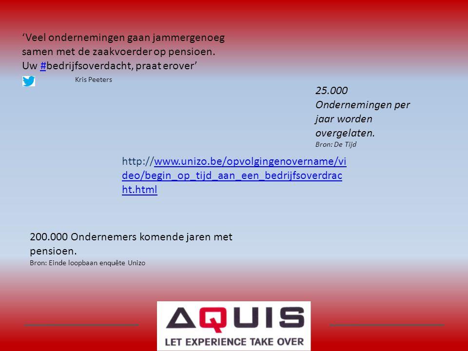 'Veel ondernemingen gaan jammergenoeg samen met de zaakvoerder op pensioen. Uw #bedrijfsoverdacht, praat erover'# Kris Peeters http://www.unizo.be/opv