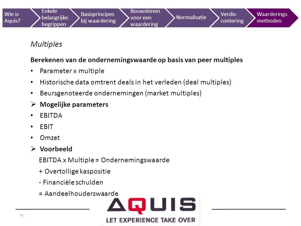 56 Multiples Berekenen van de ondernemingswaarde op basis van peer multiples Parameter x multiple Historische data omtrent deals in het verleden (deal