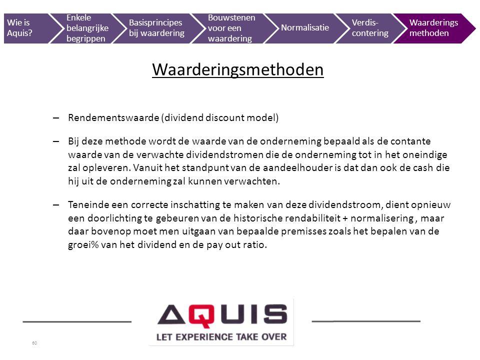 60 – Rendementswaarde (dividend discount model) – Bij deze methode wordt de waarde van de onderneming bepaald als de contante waarde van de verwachte