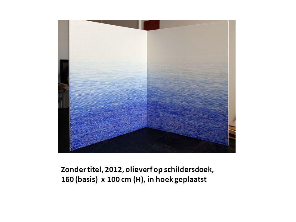 Zonder titel, 2012, olieverf op schildersdoek, 160 (basis) x 100 cm (H), in hoek geplaatst