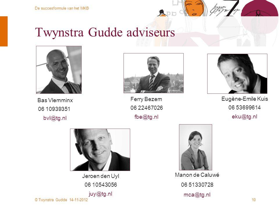 © Twynstra Gudde 14-11-2012 De succesformule van het MKB Twynstra Gudde adviseurs Manon de Caluwé 06 51330728 mca@tg.nl 10 Bas Vlemminx 06 10939351 bv