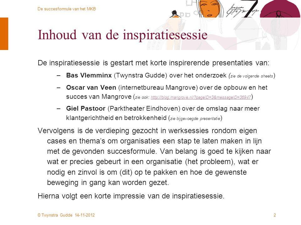 © Twynstra Gudde 14-11-2012 De succesformule van het MKB Inhoud van de inspiratiesessie De inspiratiesessie is gestart met korte inspirerende presenta