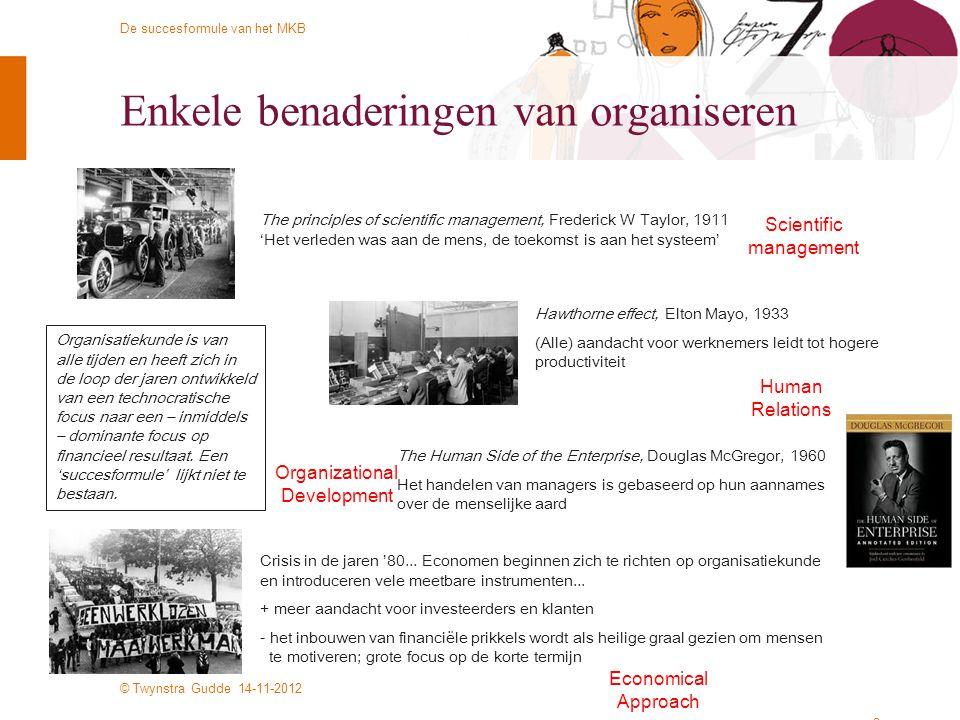 © Twynstra Gudde 14-11-2012 De succesformule van het MKB Enkele benaderingen van organiseren 3 The principles of scientific management, Frederick W Ta