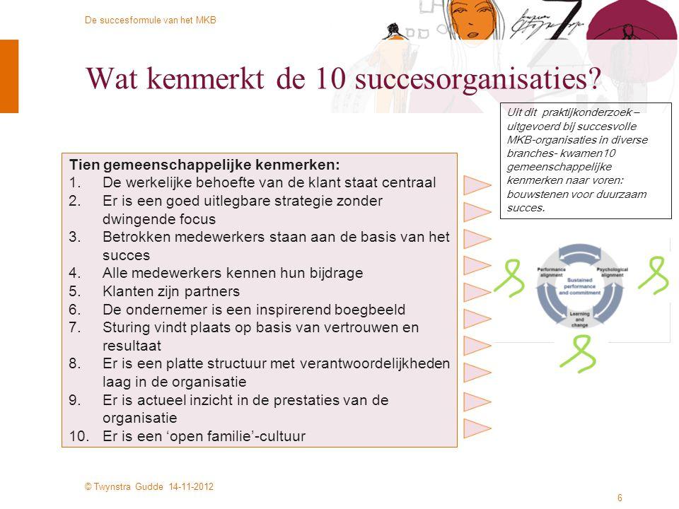 © Twynstra Gudde 14-11-2012 De succesformule van het MKB 6 Wat kenmerkt de 10 succesorganisaties? Tien gemeenschappelijke kenmerken: 1.De werkelijke b
