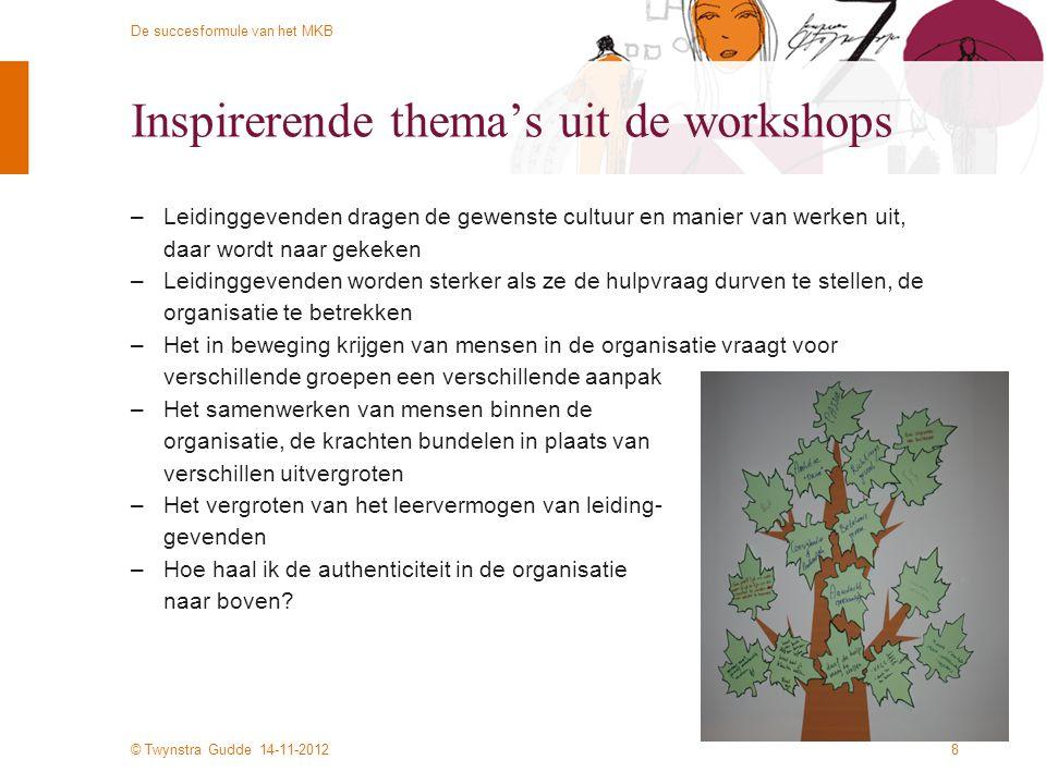 © Twynstra Gudde 14-11-2012 De succesformule van het MKB Inspirerende thema's uit de workshops –Leidinggevenden dragen de gewenste cultuur en manier van werken uit, daar wordt naar gekeken –Leidinggevenden worden sterker als ze de hulpvraag durven te stellen, de organisatie te betrekken –Het in beweging krijgen van mensen in de organisatie vraagt voor verschillende groepen een verschillende aanpak –Het samenwerken van mensen binnen de organisatie, de krachten bundelen in plaats van verschillen uitvergroten –Het vergroten van het leervermogen van leiding- gevenden –Hoe haal ik de authenticiteit in de organisatie naar boven.