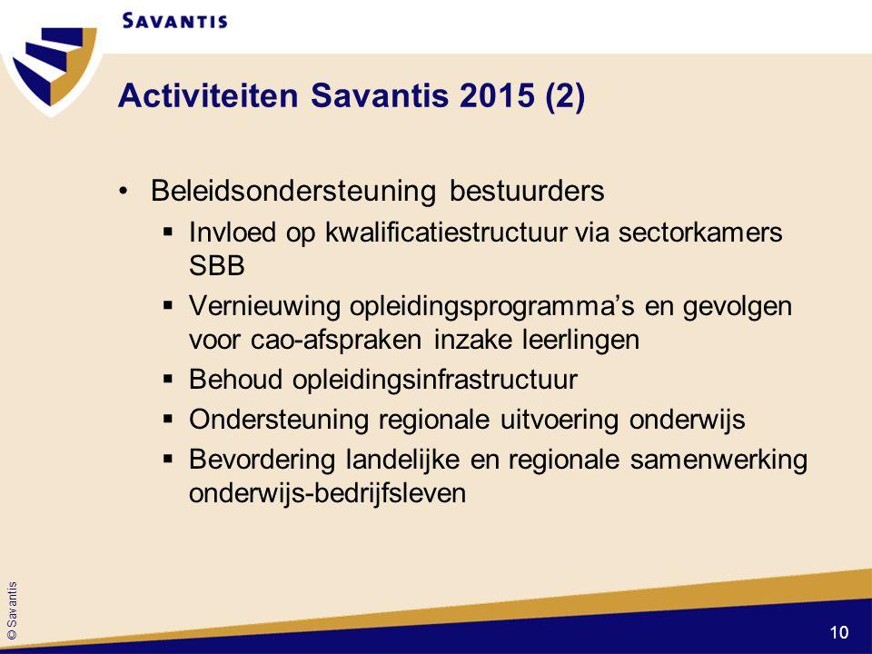 © Savantis Activiteiten Savantis 2015 (2) Beleidsondersteuning bestuurders  Invloed op kwalificatiestructuur via sectorkamers SBB  Vernieuwing oplei