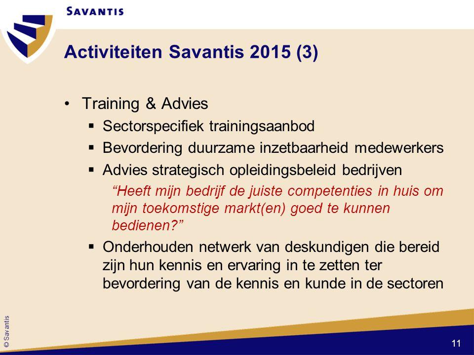 © Savantis Activiteiten Savantis 2015 (3) Training & Advies  Sectorspecifiek trainingsaanbod  Bevordering duurzame inzetbaarheid medewerkers  Advie