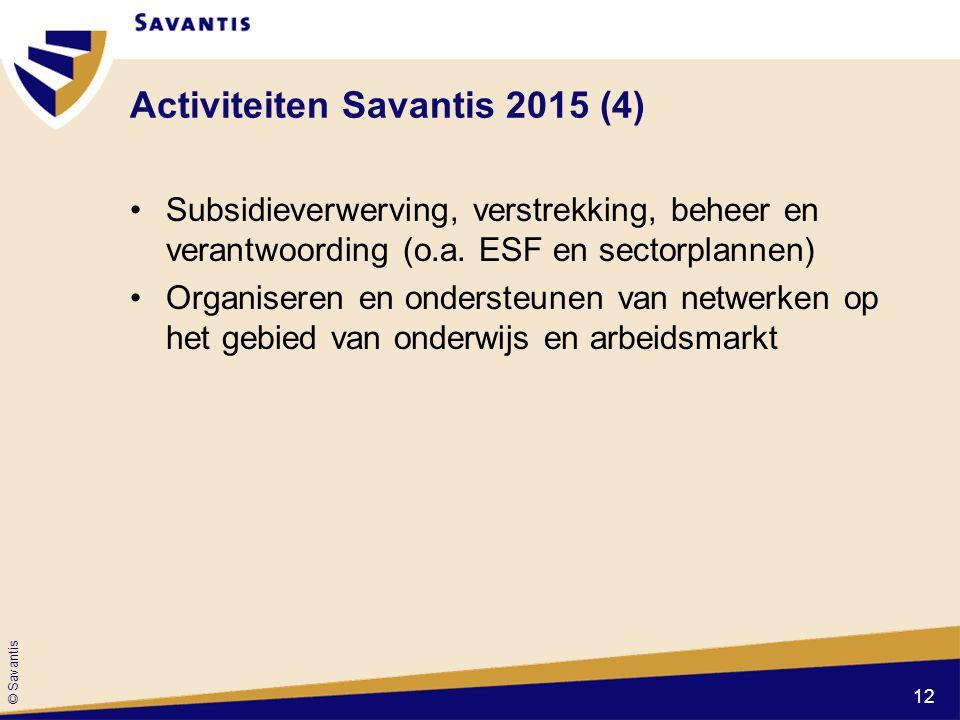 © Savantis Activiteiten Savantis 2015 (4) Subsidieverwerving, verstrekking, beheer en verantwoording (o.a. ESF en sectorplannen) Organiseren en onders