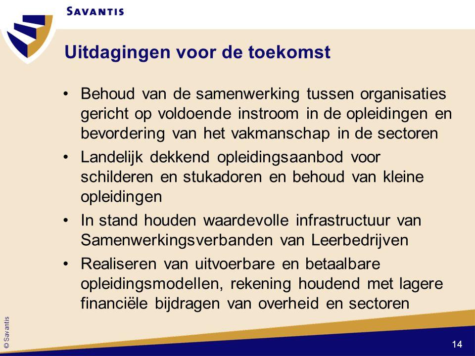 © Savantis Uitdagingen voor de toekomst Behoud van de samenwerking tussen organisaties gericht op voldoende instroom in de opleidingen en bevordering