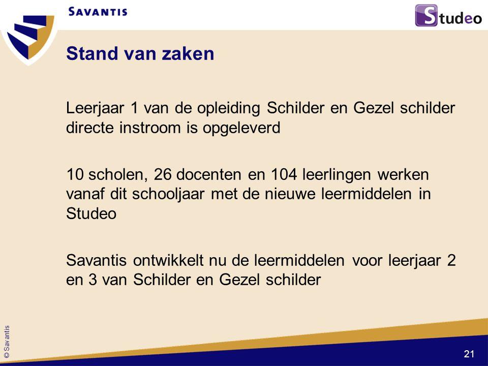 © Savantis Stand van zaken Leerjaar 1 van de opleiding Schilder en Gezel schilder directe instroom is opgeleverd 10 scholen, 26 docenten en 104 leerli