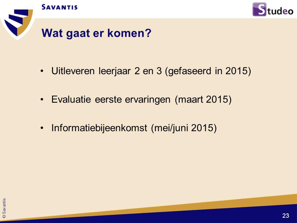 © Savantis Wat gaat er komen? Uitleveren leerjaar 2 en 3 (gefaseerd in 2015) Evaluatie eerste ervaringen (maart 2015) Informatiebijeenkomst (mei/juni