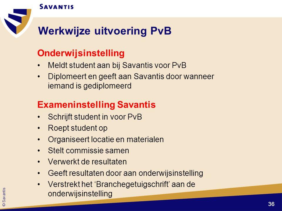 © Savantis Werkwijze uitvoering PvB Onderwijsinstelling Meldt student aan bij Savantis voor PvB Diplomeert en geeft aan Savantis door wanneer iemand i