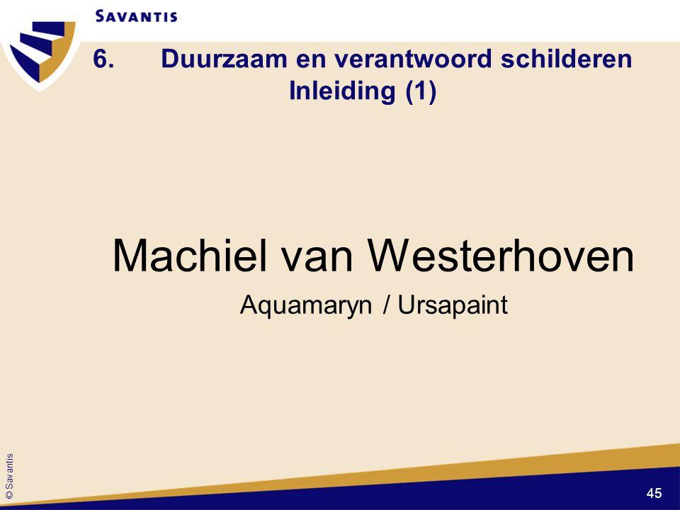 © Savantis 6.Duurzaam en verantwoord schilderen Inleiding (1) Machiel van Westerhoven Aquamaryn / Ursapaint 45