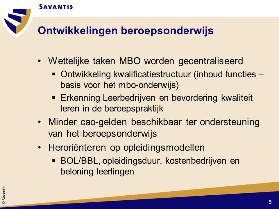 © Savantis Ontwikkelingen beroepsonderwijs Wettelijke taken MBO worden gecentraliseerd  Ontwikkeling kwalificatiestructuur (inhoud functies – basis v