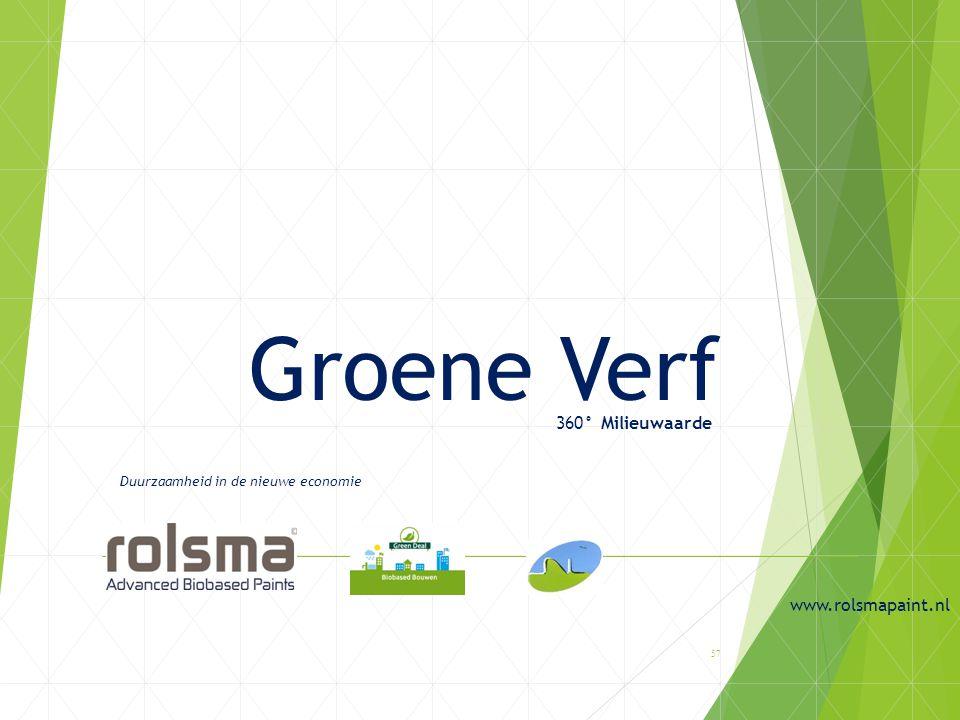Groene Verf 360° Milieuwaarde Duurzaamheid in de nieuwe economie www.rolsmapaint.nl 57