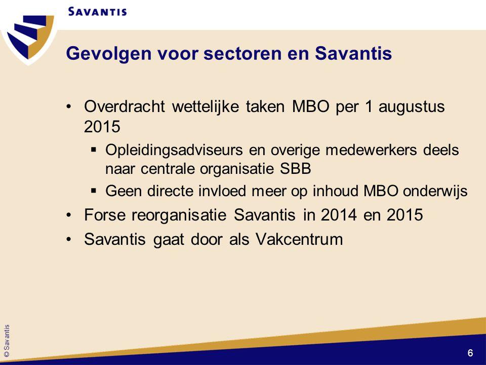 © Savantis Gevolgen voor sectoren en Savantis Overdracht wettelijke taken MBO per 1 augustus 2015  Opleidingsadviseurs en overige medewerkers deels n