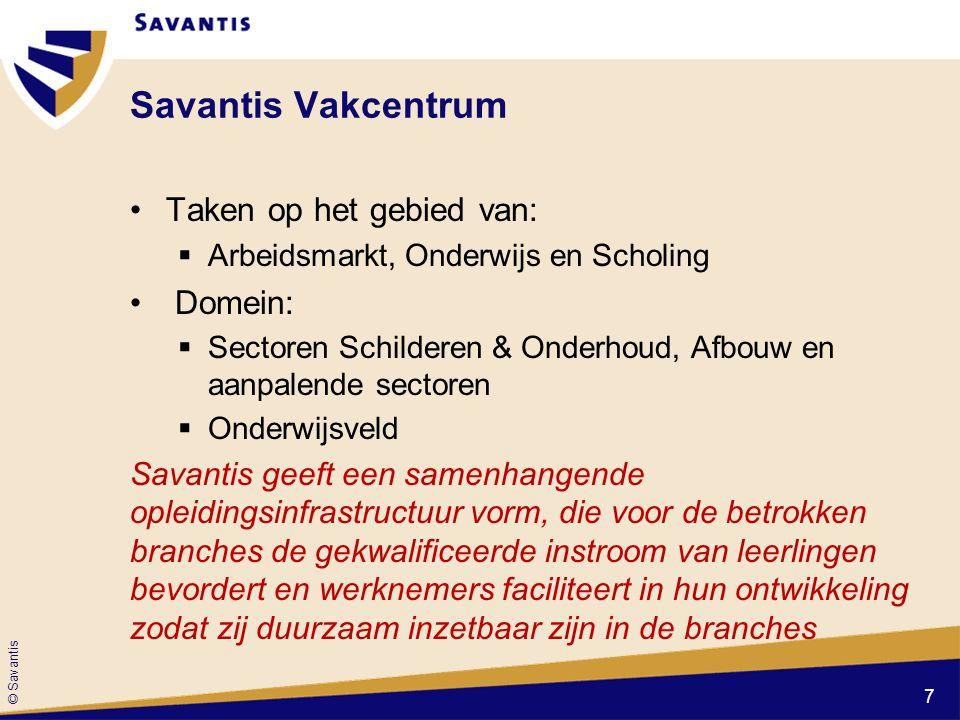 © Savantis Savantis Vakcentrum Taken op het gebied van:  Arbeidsmarkt, Onderwijs en Scholing Domein:  Sectoren Schilderen & Onderhoud, Afbouw en aan