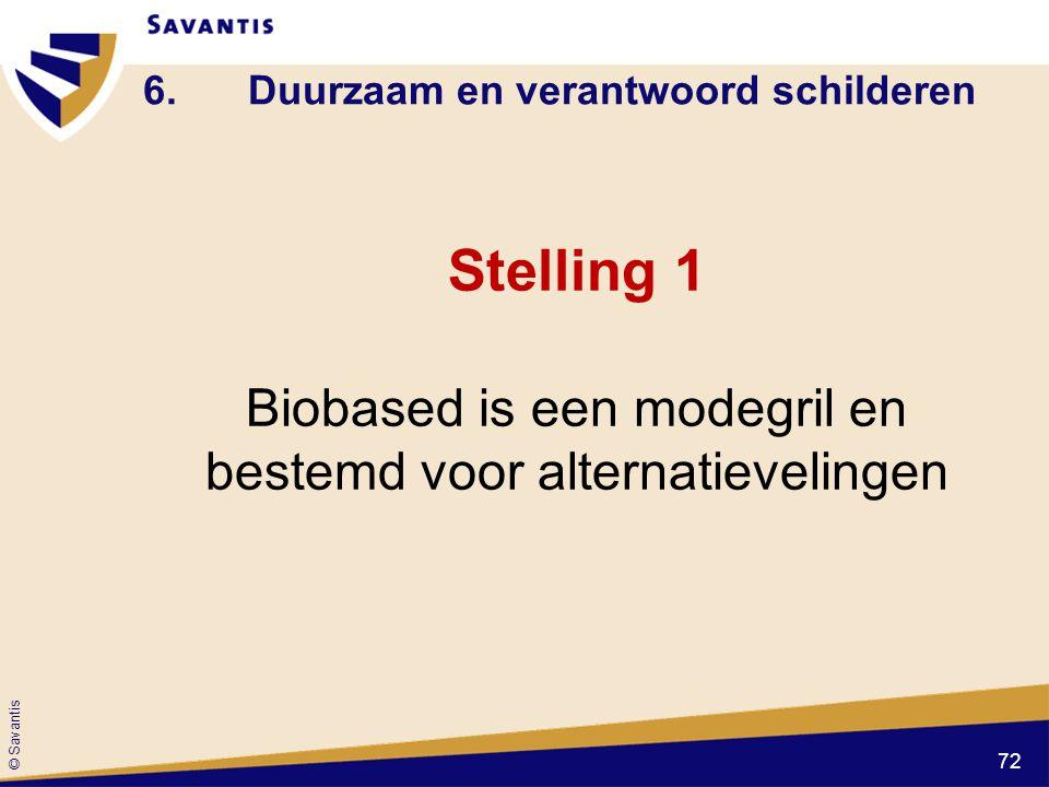 © Savantis 6.Duurzaam en verantwoord schilderen Stelling 1 Biobased is een modegril en bestemd voor alternatievelingen 72