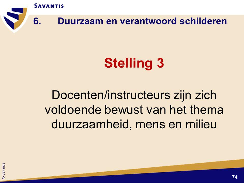 © Savantis 6.Duurzaam en verantwoord schilderen Stelling 3 Docenten/instructeurs zijn zich voldoende bewust van het thema duurzaamheid, mens en milieu