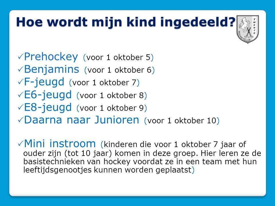 Hoe wordt mijn kind ingedeeld?  Prehockey (voor 1 oktober 5)  Benjamins (voor 1 oktober 6)  F-jeugd (voor 1 oktober 7)  E6-jeugd (voor 1 oktober 8