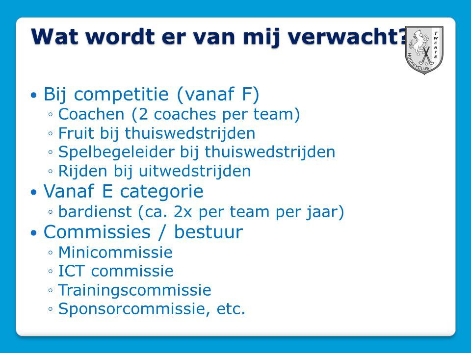 Wat wordt er van mij verwacht? Bij competitie (vanaf F) ◦Coachen (2 coaches per team) ◦Fruit bij thuiswedstrijden ◦Spelbegeleider bij thuiswedstrijden