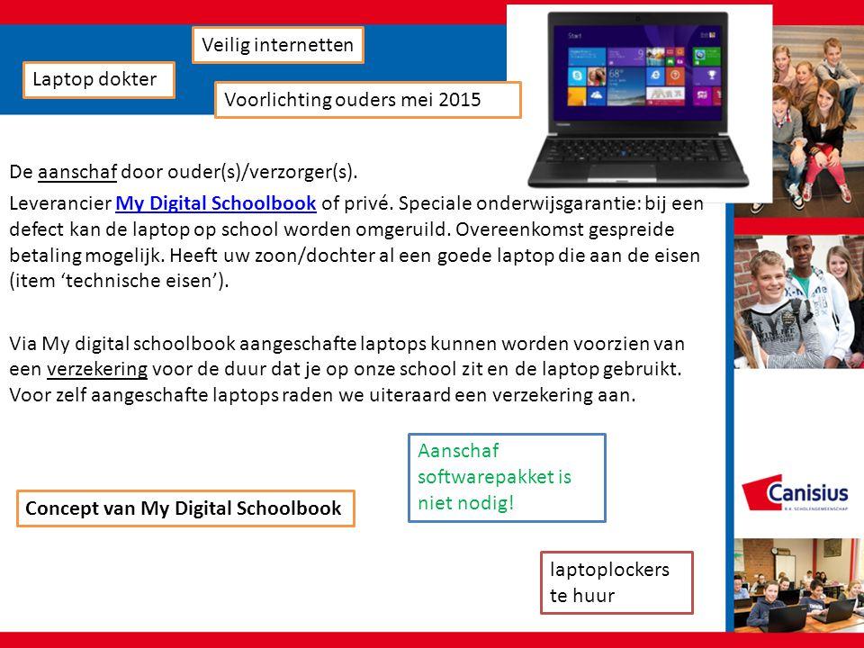 De aanschaf door ouder(s)/verzorger(s). Leverancier My Digital Schoolbook of privé. Speciale onderwijsgarantie: bij een defect kan de laptop op school