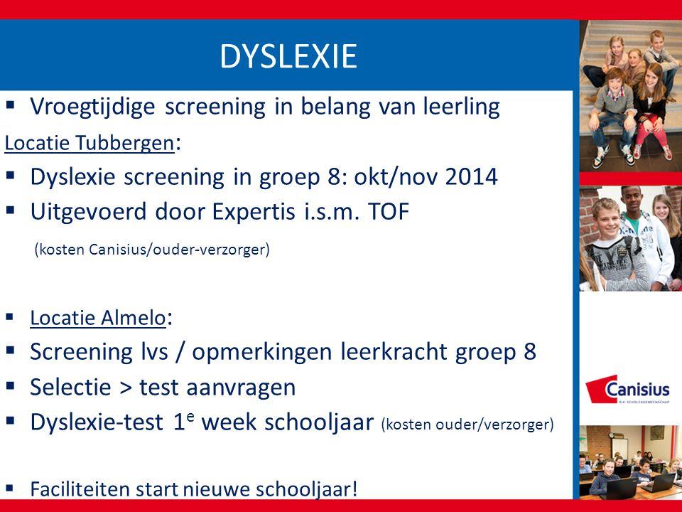 DYSLEXIE  Vroegtijdige screening in belang van leerling Locatie Tubbergen :  Dyslexie screening in groep 8: okt/nov 2014  Uitgevoerd door Expertis