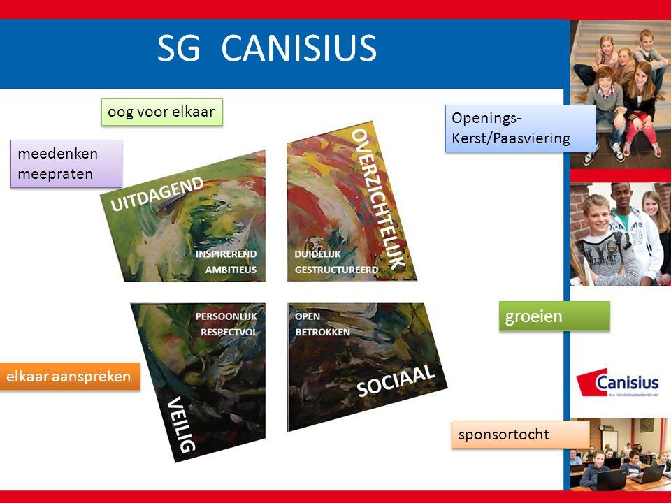 SG CANISIUS oog voor elkaar sponsortocht Openings- Kerst/Paasviering elkaar aanspreken groeien meedenken meepraten meedenken meepraten