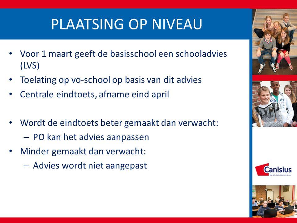 PLAATSING OP NIVEAU Voor 1 maart geeft de basisschool een schooladvies (LVS) Toelating op vo-school op basis van dit advies Centrale eindtoets, afname