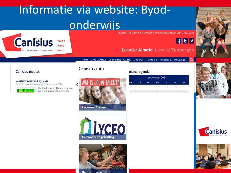 Informatie via website: Byod- onderwijs