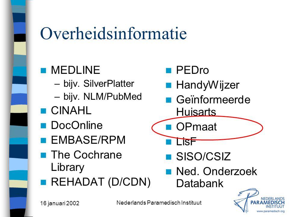 16 januari 2002 Nederlands Paramedisch Instituut Algemene gezondheidszorg MEDLINE –bijv. SilverPlatter –bijv. NLM/PubMed CINAHL DocOnline EMBASE/RPM T