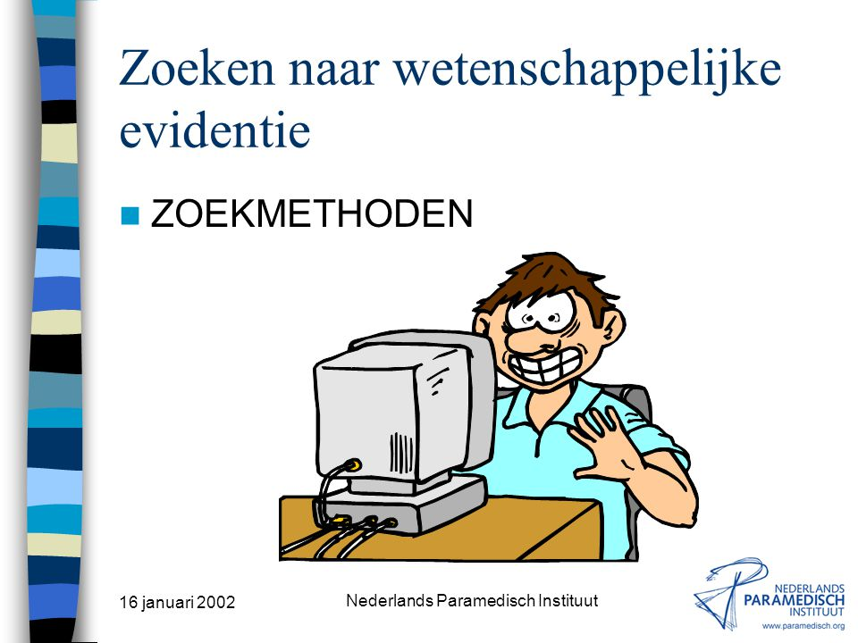 16 januari 2002 Nederlands Paramedisch Instituut MEDLINE Interface (óók voor CINAHL, EMBASE & SERFILE) SilverPlatter Information bv SPIRS = SilverPlat