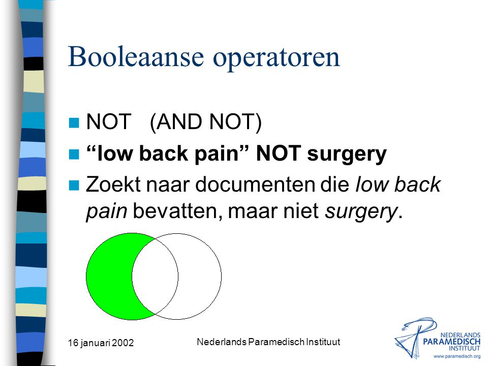 16 januari 2002 Nederlands Paramedisch Instituut Booleaanse operatoren OR stenosis OR narrowing Zoekt naar documenten die óf stenosis en/of narrowing bevatten.