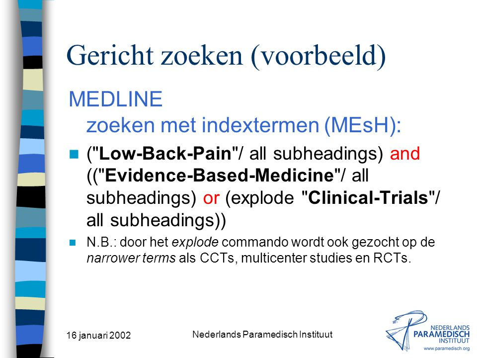 16 januari 2002 Nederlands Paramedisch Instituut Gericht zoeken (gericht vinden) INDEXTERMEN MEDLINE –bijv. SilverPlatter –bijv. NLM/PubMed CINAHL The