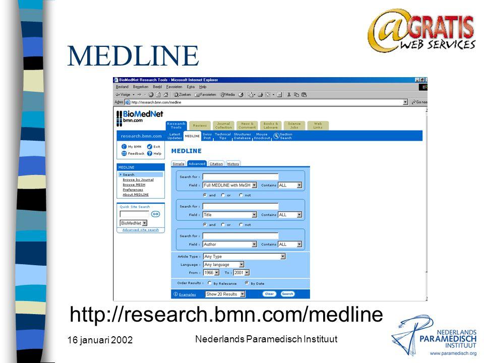 16 januari 2002 Nederlands Paramedisch Instituut PEDro http://ptwww.cchs.usyd.edu.au/pedro/
