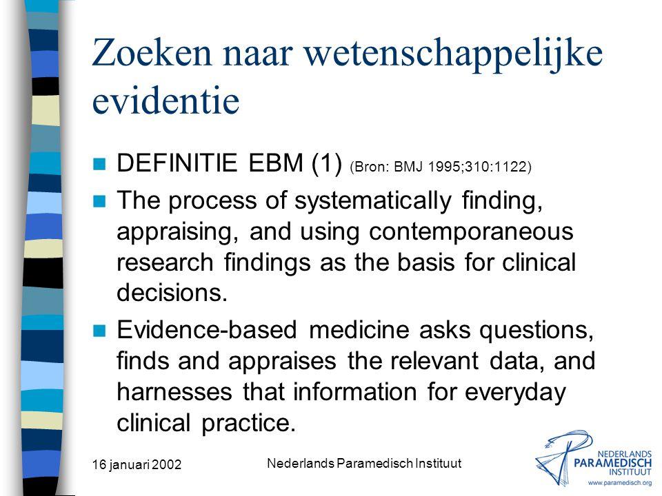 16 januari 2002 Nederlands Paramedisch Instituut Programma INLEIDING 'ZOEKEN NAAR WETENSCHAPPELIJKE EVIDENTIE' Opsporen van informatie Informatiebronnen via het Internet en/of de mediatheek Zoekmethoden Internetbronnen Praktijkoefeningen