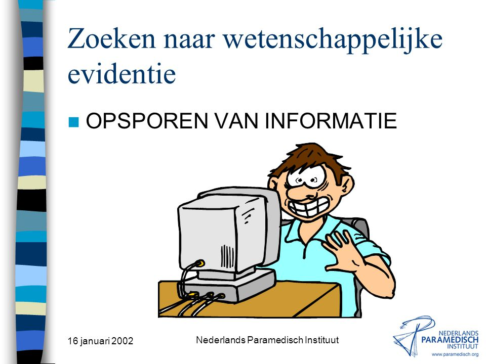 16 januari 2002 Nederlands Paramedisch Instituut Zoeken naar wetenschappelijke evidentie DEFINITIE EBM (2) (Bron: BMJ 1995;310:1122) Evidence-based medicine follows four steps: –formulate a clear clinical question from a patient s problem; –search the literature for relevant clinical articles; –evaluate (critically appraise) the evidence for its validity and usefulness; –implement useful findings in clinical practice.
