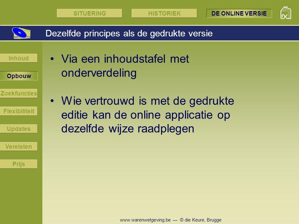 www.warenwetgeving.be — © die Keure, Brugge Via een inhoudstafel met onderverdeling Wie vertrouwd is met de gedrukte editie kan de online applicatie o
