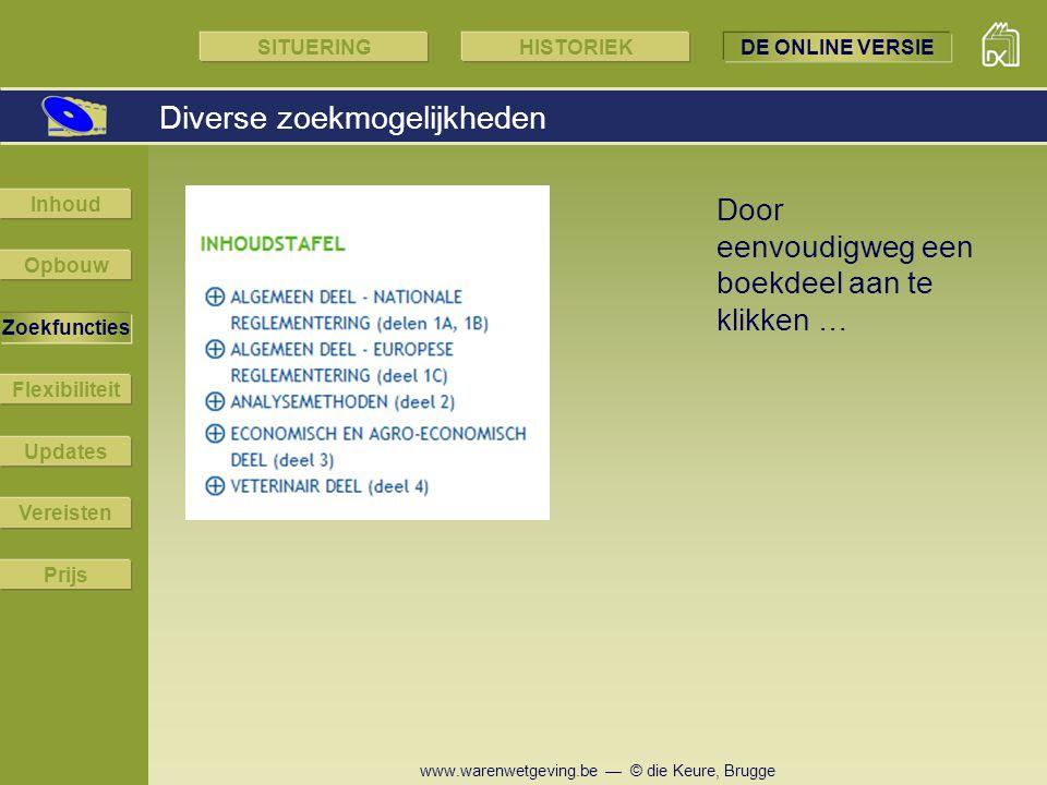 www.warenwetgeving.be — © die Keure, Brugge Diverse zoekmogelijkheden Opbouw Zoekfuncties Flexibiliteit Updates Vereisten Prijs Inhoud Door eenvoudigw