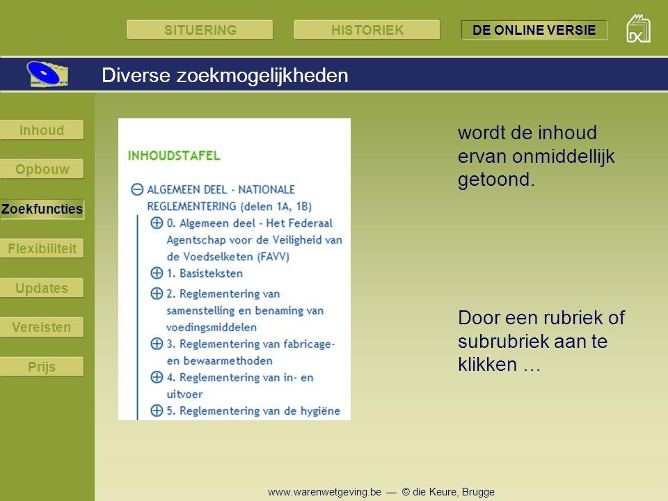 www.warenwetgeving.be — © die Keure, Brugge Diverse zoekmogelijkheden Door een rubriek of subrubriek aan te klikken … wordt de inhoud ervan onmiddelli
