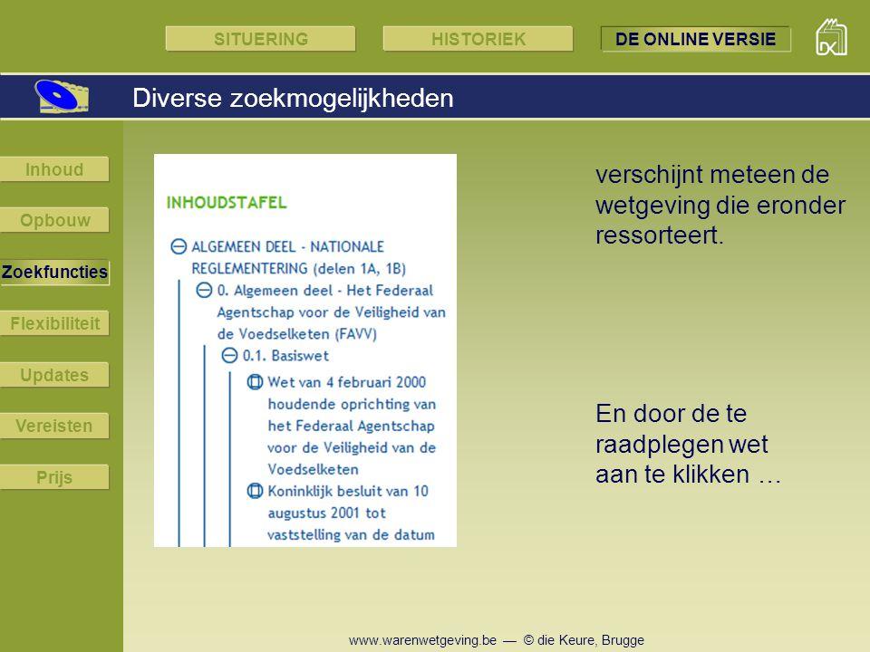 www.warenwetgeving.be — © die Keure, Brugge Diverse zoekmogelijkheden En door de te raadplegen wet aan te klikken … verschijnt meteen de wetgeving die