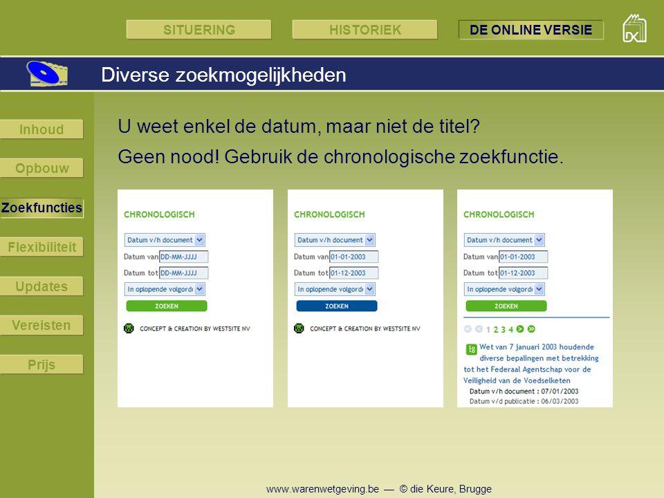 www.warenwetgeving.be — © die Keure, Brugge Geen nood! Gebruik de chronologische zoekfunctie. U weet enkel de datum, maar niet de titel? Diverse zoekm