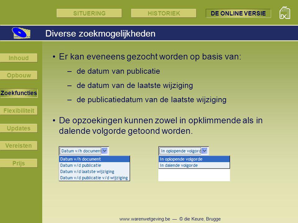 www.warenwetgeving.be — © die Keure, Brugge Er kan eveneens gezocht worden op basis van: –de datum van publicatie –de datum van de laatste wijziging –