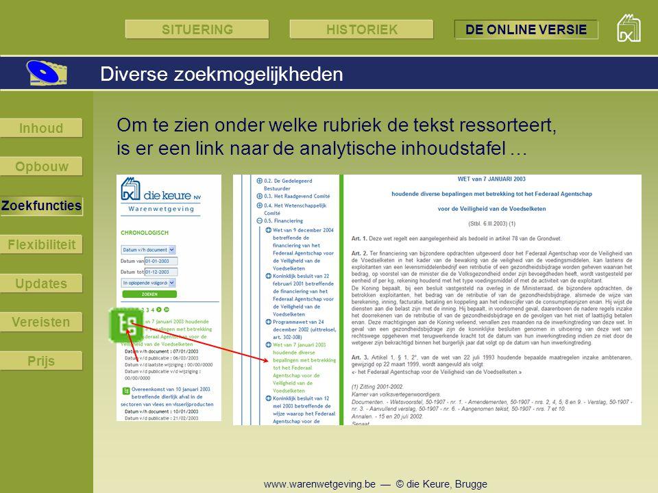 www.warenwetgeving.be — © die Keure, Brugge Om te zien onder welke rubriek de tekst ressorteert, is er een link naar de analytische inhoudstafel … Div
