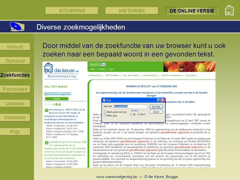 www.warenwetgeving.be — © die Keure, Brugge Door middel van de zoekfunctie van uw browser kunt u ook zoeken naar een bepaald woord in een gevonden tek