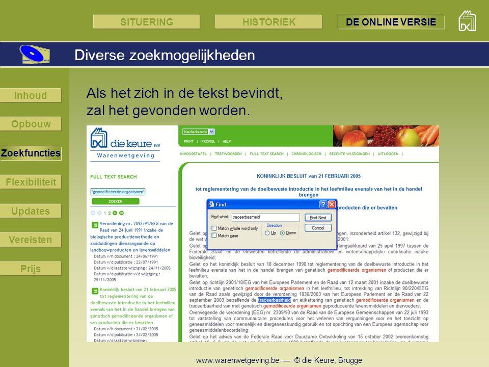 www.warenwetgeving.be — © die Keure, Brugge Diverse zoekmogelijkheden SITUERINGHISTORIEKDE ONLINE VERSIE Opbouw Zoekfuncties Flexibiliteit Updates Ver